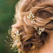 Aukmla Wedding Bridal Hair Pins - Crystal Pearl Hair Accessories Gold for Women and Girls