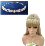 Gorgeous Crystal Diamante Headband Hair band with Faux Pearls in Silver Tone
