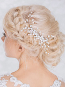 Aukmla Bridal Bling Bling Headpiece, Wedding Hair Combs with Bead and Rhinestones for Women and Girls