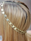 Aukmla Wedding Head Chains Gold with Sequins - Bridal Hair Accessories for Women and Girls