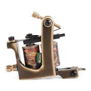 Solong Tattoo Custom Brass Tattoo Machine Gun Handmade 12 Wrap Pure Copper Coils Shading M203-2