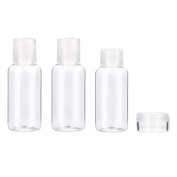 Kingko® 4 Piece Clear Plastic Air/Flight Travel Cabin Bottle Set Toiletries Liquid Containers