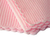 The Knit Wit - Soft Knitted Cellular Baby Blanket - Available in 3 Sizes and a Choice of Pastel Colours - White, Pink, Blue, Lemon, Cream, Mint and Lilac