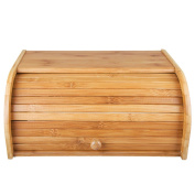 INDRESSME Pure Bamboo Bread Box Vintage Rolltop Bread Holder Large Capacity Bread Storage