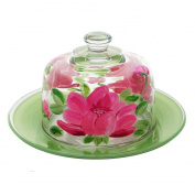Golden Hill Studio Cheese Dome Hand Painted in the USA by American Artists-Peony Floral Collection