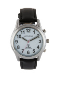 Verbalise Ladies Silver Radio Controlled Talking Watch with Black Leather Strap