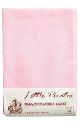 2 x Baby Pram/Crib/ Moses Basket Flat Sheet 100% Cotton Pink