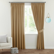 H.Versailtex Spring Fashion Solid Thermal Insulated Blackout Pencil Pleat Anti - Mite Curtains for Bedroom with Two Free Tiebacks - Latte, Energy Saving & Noise Reducting, 230cm Width x 180cm Drop, Set of 2 pieces
