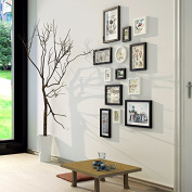 Creative Photo frame set -solid wood living room, bedroom minimalist modern , photoBlack and White