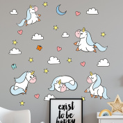 Booizzi Cute Unicorn Wall Sticker Decal Set - Girls Nursery Bedroom Decoration - includes Clouds, Hearts, Stars & More