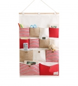 SFGHOUSE Striped 13 Pockets Wall Door Closet Hanging Organiser Storage Bag Red Stripe