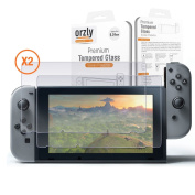 Screen Protector Nintendo Switch - Orzly Premium Tempered Glass Screen Protector TWIN Pack [2 x Screen Guards] for 16cm Tablet Screen on Nintendo Switch Console