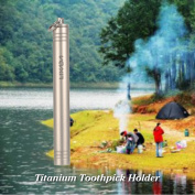 Lixada Waterproof Titanium Toothpick Holder Case Container Outdoor Tool
