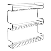 InterDesign Classico Wall Mount Spice Organiser Rack For Kitchen Storage, Chrome