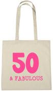 50 & Fabulous Tote Bag, 50th Birthday Gift Bag for Women