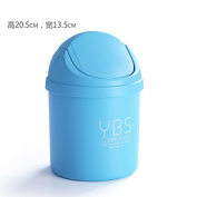 Desktop Trash Can home creative mini door trash cans in the living room, bedroom debris covered clean bucket,Domed blue