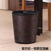 TRASH CAN Leather anti-stress the garbage in the basket of domestic and kitchen creative continental 12L without cover the trash , classical flower