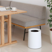 TRASH CAN Japanese matte round bins without cover can be creative hand minimalist, large 11.4L, White