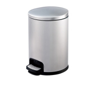 Pedal Stainless Steel Trash Cans Hotel Office Kitchen Household Storage Barrels,Silver-5L