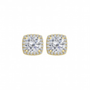 Fine Jewellery Vault UBNER40591Y14CZ600 Smooth Curved Cubic Zirconia 14K Yellow Gold Stud Earrings
