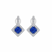 Fine Jewellery Vault UBUNER40850W14CZS Rhombus Pattern Cubic Zirconia Sapphire Halo Stud Earrings in 14K White Gold