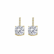 Fine Jewellery Vault UBNER40593Y14CZ Hanging Style Cubic Zirconia 14K Yellow Gold Stud Earrings