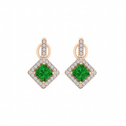 Fine Jewellery Vault UBUNER40850AGVRCZE Rhombus Design Emerald Cubic Zirconia Earrings in 14K Rose Gold Vermeil