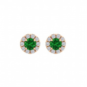 Fine Jewellery Vault UBUNER40827AGVRCZE100 Round Emerald Cubic Zirconia Halo Stud Earrings in 14K Rose Gold Vermeil