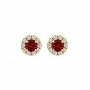 Fine Jewellery Vault UBUNER40827Y14CZR100 Ruby Cubic Zirconia Round Halo Push Back Stud Earrings in 14K Yellow Gold