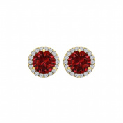 Fine Jewellery Vault UBUNER40927Y14CZR100 Ruby Cubic Zirconia Round Halo Push Back Stud Earrings in 14K Yellow Gold