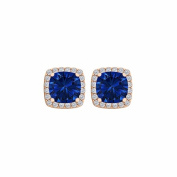 Fine Jewellery Vault UBUNER40591AGVRCZS600 Sapphire Cubic Zirconia Square Push Back Earrings in 14K Gold Vermeil