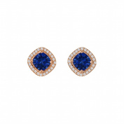 Fine Jewellery Vault UBUNER40692P14CZS Rhombus Sapphire Cubic Zirconia Square Halo Earrings in 14K Rose Gold