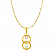 Fine Jewellery Vault UBPDS86429Y14CZ April Birthstones Three Stone Cubic Zirconia Circle Pendant in 14K Yellow Gold