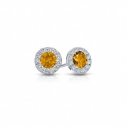 Fine Jewellery Vault UBERBK200AGCZCT Citrine & Cubic Zirconia Halo Stud Earrings in 925 Sterling Silver