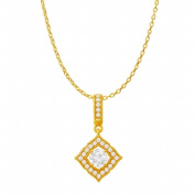 Fine Jewellery Vault UBPDS86476Y14CZ Cubic Zirconia Halo Square Pendant in 14K Yellow Gold