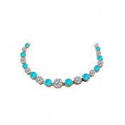 Fine Jewellery Vault UBUNKBK7205AGVRCZBT Cubic Zirconia Blue Topaz Graduated Necklace in Rose Gold Vermeil