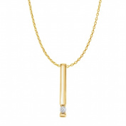 Fine Jewellery Vault UBPDS86513AGVYCZ1 Cubic Zirconia One Stone Vertical Bar Pendant in 18K Yellow Gold Vermeil