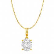 Fine Jewellery Vault UBPDS85655AGVYCZ Cubic Zirconia Accented Oval Cubic Zirconia Pendant in 18K Yellow Gold Vermeil