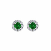 Fine Jewellery Vault UBUNER40827AGCZE100 Emerald Cubic Zirconia Round Halo Stud Earrings in 925 Sterling Silver