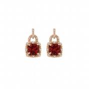 Fine Jewellery Vault UBUNER40841AGVRCZR Lock Design Cubic Zirconia Ruby Square Earrings in Rose Gold Vermeil