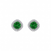Fine Jewellery Vault UBUNER40692AGCZE Rhombus Design Cubic Zirconia Emerald Earrings in 925 Sterling Silver