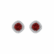 Fine Jewellery Vault UBUNER40692W14CZR Rhombus Design Cubic Zirconia Ruby Square Halo Earrings in 14K White Gold