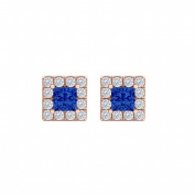 Fine Jewellery Vault UBUNER40828AGVRCZS100 Sapphire Cubic Zirconia Square Halo Earrings in 14K Rose Gold Vermeil