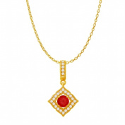 Fine Jewellery Vault UBUPDS86476Y14CZR Ruby Cubic Zirconia Halo Square Pendant in 14K Yellow Gold 1.25 Carat