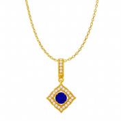 Fine Jewellery Vault UBUPDS86476Y14CZS Sapphire Cubic Zirconia Halo Square Pendant in 14K Yellow Gold & 1.25 Carat