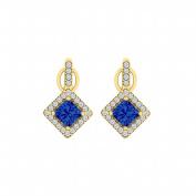 Fine Jewellery Vault UBUNER40850AGVYCZS Sapphire Cubic Zirconia Square Earrings in Rhombus Design Vermeil