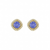Fine Jewellery Vault UBUNER40692Y14CZTZ Square Tanzanite Cubic Zirconia Halo Earrings in Rhombus 14K Yellow Gold