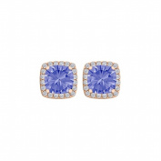 Fine Jewellery Vault UBUNER40591P14CZTZ600 Tanzanite Cubic Zirconia Halo Push Back Earrings in 14K Rose Gold