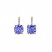 Fine Jewellery Vault UBUNER40593AGVRCZTZ Tanzanite Cubic Zirconia Push Back Earrings in 14K Rose Gold Vermeil