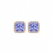 Fine Jewellery Vault UBUNER40933AGVRCZTZ500 Tanzanite Cubic Zirconia Square Halo Stud Earrings in 14K Gold Vermeil